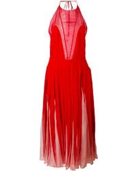 rotes Midikleid aus Seide mit Falten von Valentino