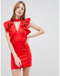 rotes figurbetontes Kleid mit Rüschen von Glamorous