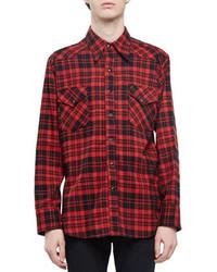 rotes Flanell Langarmhemd mit Karomuster