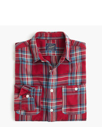 rotes Flanell Langarmhemd mit Schottenmuster