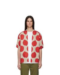 rotes gepunktetes Kurzarmhemd