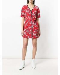 rotes gerade geschnittenes Kleid mit Blumenmuster von Rag & Bone