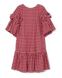 rotes gerade geschnittenes Kleid mit Karomuster von Fendi