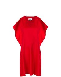 rotes gerade geschnittenes Kleid mit Rüschen von MM6 MAISON MARGIELA