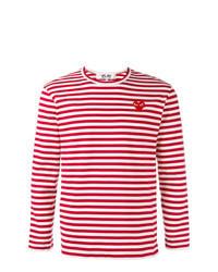 rotes horizontal gestreiftes Langarmshirt