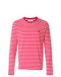 rotes horizontal gestreiftes Langarmshirt von AMI Alexandre Mattiussi