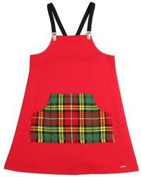 rotes Kleid mit Schottenmuster