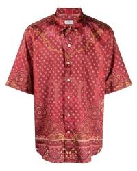 rotes Kurzarmhemd mit Paisley-Muster von Etro