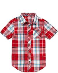 rotes Kurzarmhemd mit Schottenmuster