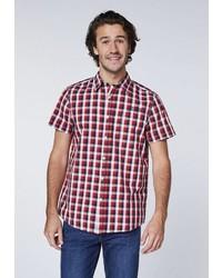 rotes Kurzarmhemd mit Schottenmuster von OKLAHOMA JEANS