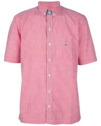 rotes Kurzarmhemd mit Vichy-Muster von Lacoste