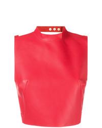 rotes kurzes Oberteil aus Leder von Manokhi