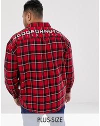 rotes Langarmhemd mit Karomuster von Good For Nothing