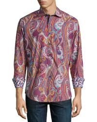 rotes Langarmhemd mit Paisley-Muster