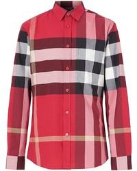 rotes Langarmhemd mit Schottenmuster von Burberry