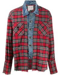 rotes Langarmhemd mit Schottenmuster von Greg Lauren