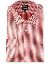 rotes Langarmhemd mit Vichy-Muster