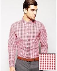 rotes Langarmhemd mit Vichy-Muster von Asos
