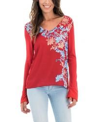 rotes Langarmshirt mit Blumenmuster von Salsa