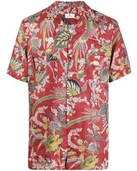 rotes Leinen Kurzarmhemd mit Blumenmuster von Etro