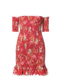 rotes Leinen schulterfreies Kleid mit Blumenmuster von Zimmermann