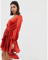 rotes Satin Cocktailkleid von ASOS DESIGN
