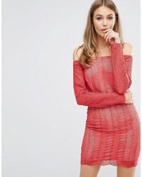 rotes schulterfreies Kleid aus Spitze von Keepsake