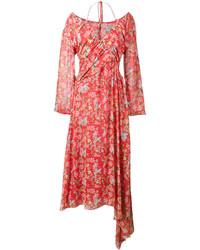 rotes schulterfreies Kleid mit Blumenmuster von Preen by Thornton Bregazzi