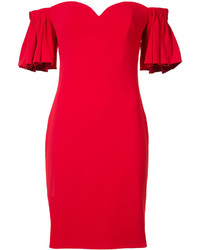 rotes schulterfreies Kleid mit Rüschen von Badgley Mischka
