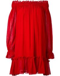 rotes schulterfreies Kleid von Alexander McQueen