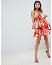 rotes schwingendes Kleid mit Blumenmuster von ASOS DESIGN