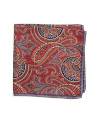 rotes Seide Einstecktuch mit Paisley-Muster