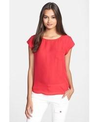 1e5ba5b2f213ba rotes Seide T-Shirt mit einem Rundhalsausschnitt