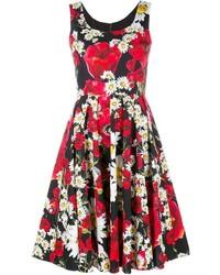 rotes Skaterkleid mit Blumenmuster von Dolce & Gabbana