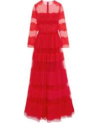 rotes Spitze Ballkleid von Valentino