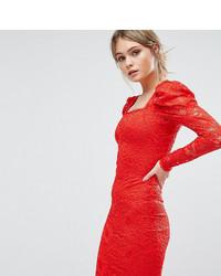 rotes figurbetontes Kleid aus Spitze von TFNC