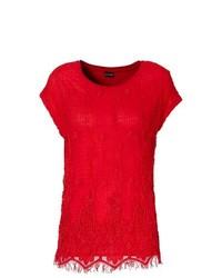 rotes Spitze T-Shirt mit Rundhalsausschnitt