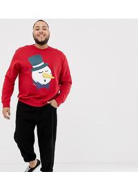 rotes Sweatshirt mit Weihnachten Muster von Jack & Jones