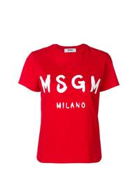 rotes Mit Batikmuster T-Shirt mit einem Rundhalsausschnitt von MSGM