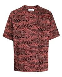 rotes T-Shirt mit einem Rundhalsausschnitt mit Leopardenmuster von Kenzo