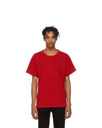 rotes T-Shirt mit einem Rundhalsausschnitt von Amiri