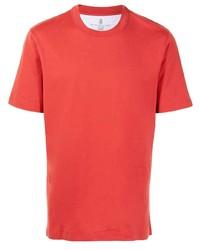 rotes T-Shirt mit einem Rundhalsausschnitt von Brunello Cucinelli