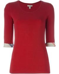 rotes T-Shirt mit einem Rundhalsausschnitt von Burberry