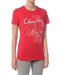 rotes T-Shirt mit einem Rundhalsausschnitt von Champion