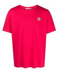 rotes T-Shirt mit einem Rundhalsausschnitt von Moncler
