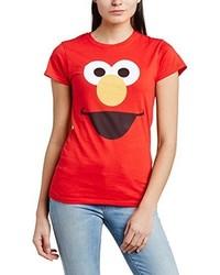 rotes T-Shirt mit einem Rundhalsausschnitt von Sesame Street