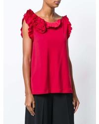 rotes Trägershirt mit Rüschen von Lanvin
