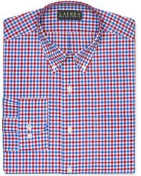 rotes und dunkelblaues Businesshemd mit Vichy-Muster