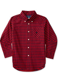 rotes und dunkelblaues Langarmhemd mit Schottenmuster