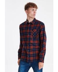 rotes und dunkelblaues Langarmhemd mit Schottenmuster von BLEND